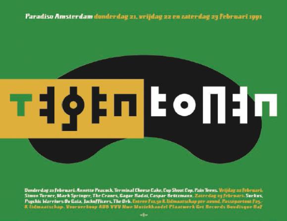 De Tegentonen-poster uit 1991 is de sleutel tot het gebruik van vorm en tegenvorm in zowel zijn typografische ontwerpen als zijn illustraties en beelden.