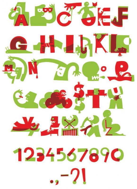 Omslag/affiche voor Klein Woordenboek van Tijd met 26 woorden die iets over tijd zeggen, beknopt beschreven door 26 auteurs. Elke illustratie verhoudt zich tot het woord en de letter in het alfabet. Dit resulteerde in een gelaagd lettertype, gratis verkrijgbaar via Hollandfonts.com.